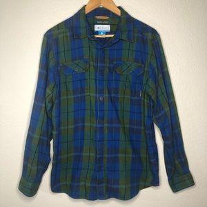 Columbia Omni-Wick Plaid Long Sleeve Shirt Size M